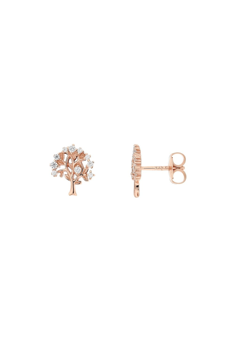 Rose Gold Tree Of Life Stud Earrings Yorkshire Jewellery Company