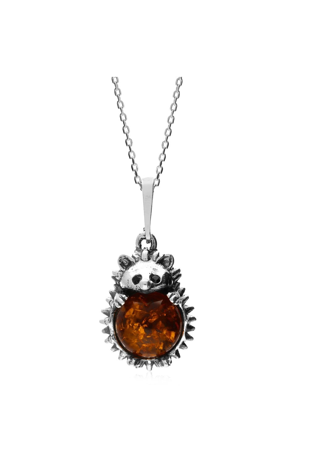 Amber Sterling Silver Large Pendant
